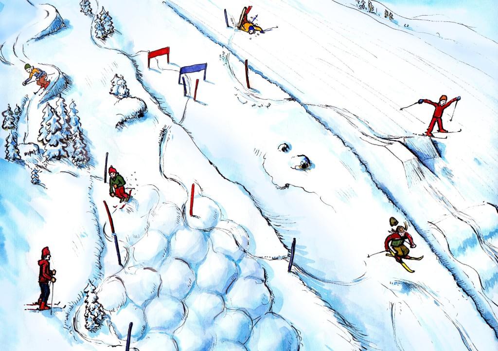 """LEKEOMRÅDE: I samarbeid med Narvik Skiklubb og Norges Skiforbund vurderes mulighetene for å få på plass et flebruks skianlegg med hoppbakke i """"trekanten"""" mellom Familiebakken og 1.bakken. Illustrasjonstegning."""
