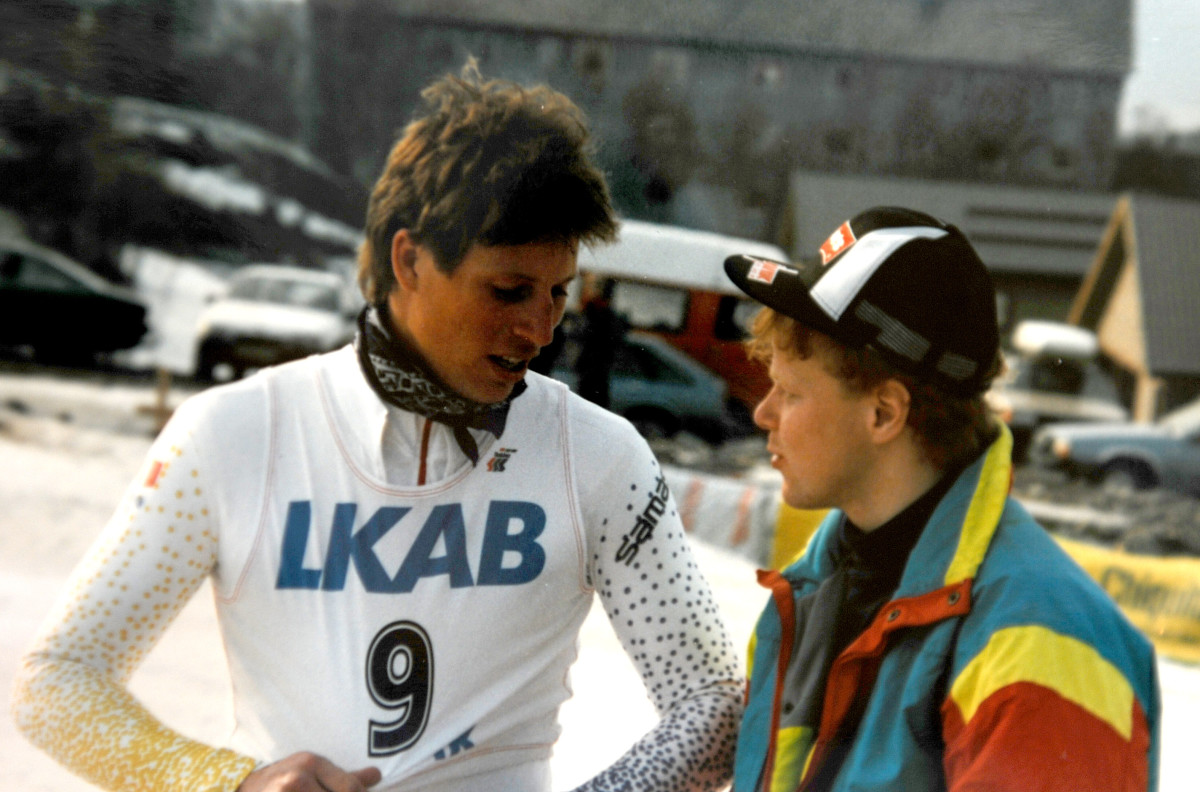 En ung Lasse Kjus og Morten Solberg under junior-NM i alpint i 1989. Foto: Privat