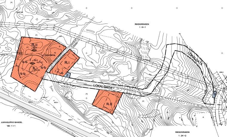 Kartskissen viser veien som lages fra Riksgränsen-siden og mot det nye hotellet.
