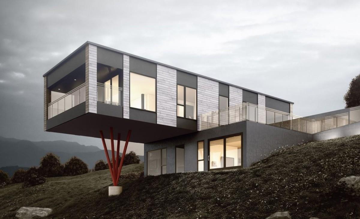 Selger har fått tegnet inn eneboliger av typen Norgeshus Moment på tomten.