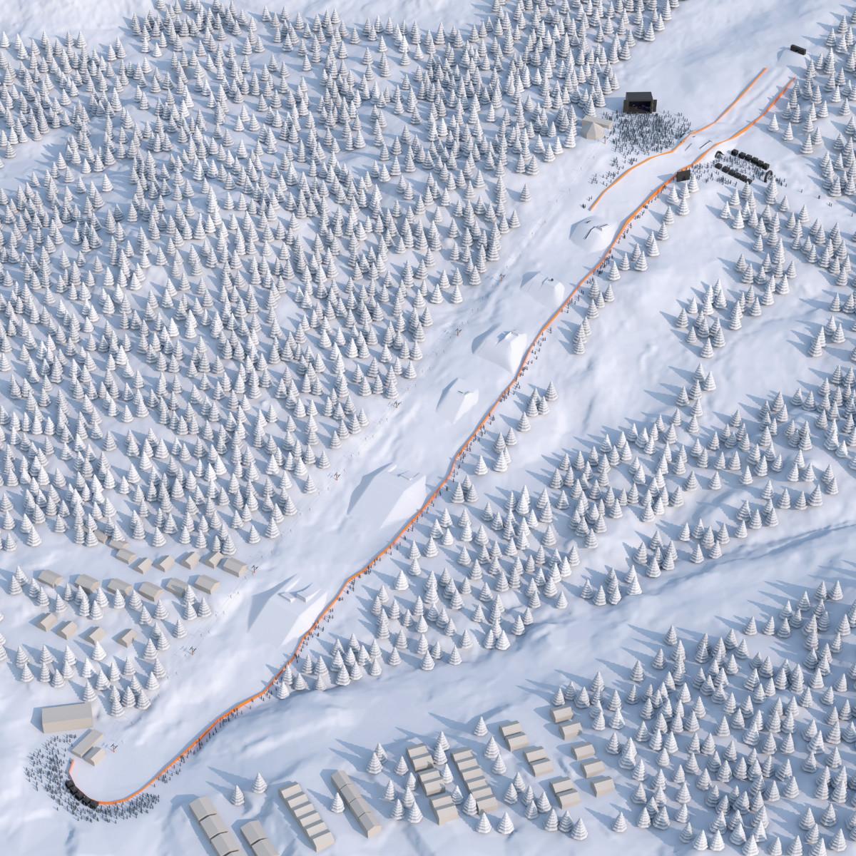 Slik ser Air+Style for seg at løypetraseen kan bli i Narvik i 2018. Med start i Andrebakken like over Asbjørnstua og med målgang nede ved bunn Førsteheisen. Ved Asbjørnstia planlegges det stor musikkscene og sponsorlandsby.